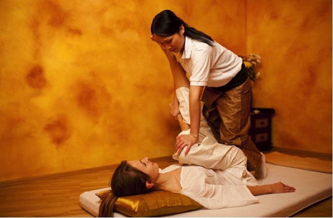 woman having thai massage