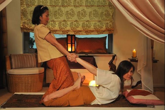 woman having thai massage
